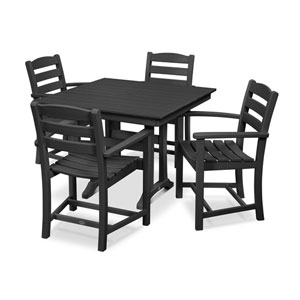 La Casa Cafe Farmhouse Trestle Black Arm Chair Dining Set, 5-Piece