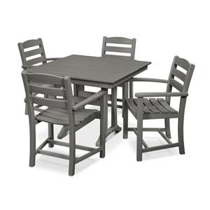 La Casa Cafe Farmhouse Trestle Slate Grey Arm Chair Dining Set, 5-Piece