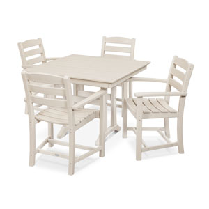 La Casa Cafe Farmhouse Trestle Sand Arm Chair Dining Set, 5-Piece