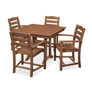 La Casa Cafe Farmhouse Trestle Teak Arm Chair Dining Set, 5-Piece