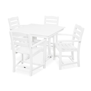 La Casa Cafe Farmhouse Trestle White Arm Chair Dining Set, 5-Piece