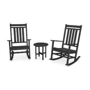 Black Estate Rocking Chair Set, 3-Piece