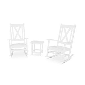 Braxton White Porch Rocking Chair Set, 3-Piece