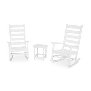 Shaker White Porch Rocking Chair Set, 3-Piece