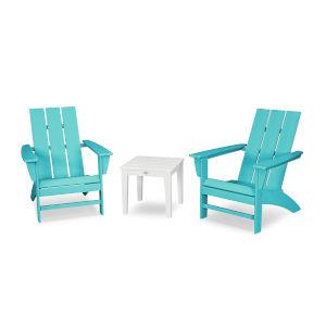 Modern Aruba and White Adirondack Set, 3-Piece