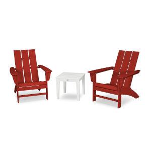 Modern Crimson Red and White Adirondack Set, 3-Piece