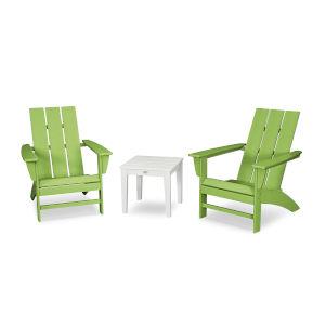 Modern Lime and White Adirondack Set, 3-Piece