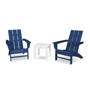 Modern Navy and White Adirondack Set, 3-Piece