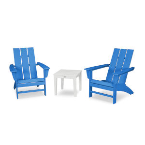 Modern Pacific Blue and White Adirondack Set, 3-Piece