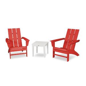 Modern Sunset Red and White Adirondack Set, 3-Piece
