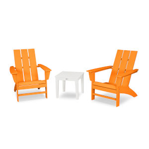 Modern Tangerine and White Adirondack Set, 3-Piece