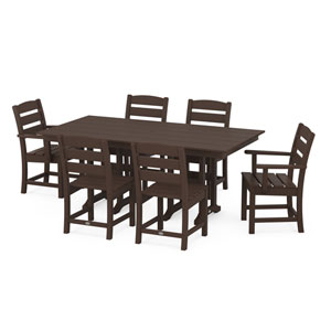 Lakeside Mahogany Farmhouse Dining Set, 7-Piece