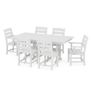 Lakeside White Farmhouse Dining Set, 7-Piece