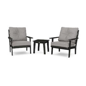 Lakeside Black and Grey Mist Deep Seating Chair Set, 3-Piece