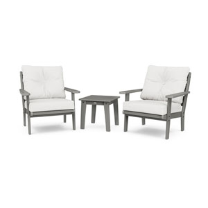 Lakeside Slate Grey and Natural Linen Deep Seating Chair Set, 3-Piece
