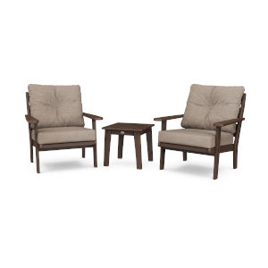 Lakeside Mahogany and Spiced Burlap Deep Seating Chair Set, 3-Piece