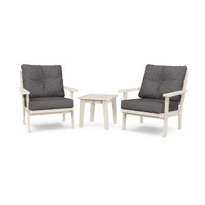Lakeside Sand and Ash Charcoal Deep Seating Chair Set, 3-Piece