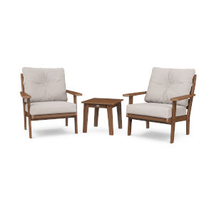 Lakeside Teak and Dune Burlap Deep Seating Chair Set, 3-Piece