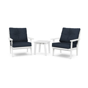 Lakeside White and Marine Indigo Deep Seating Chair Set, 3-Piece