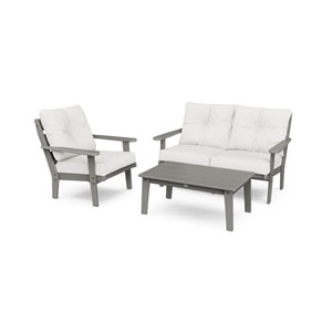 Lakeside Slate Grey and Natural Linen Deep Seating Set, 3-Piece