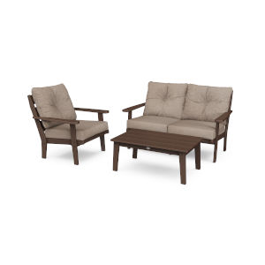 Lakeside Mahogany and Spiced Burlap Deep Seating Set, 3-Piece