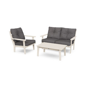 Lakeside Sand and Ash Charcoal Deep Seating Set, 3-Piece
