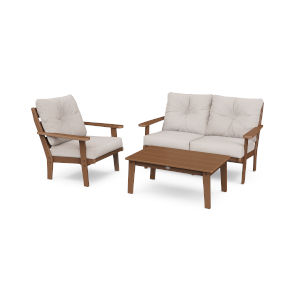 Lakeside Teak and Dune Burlap Deep Seating Set, 3-Piece