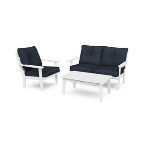 Lakeside White and Marine Indigo Deep Seating Set, 3-Piece