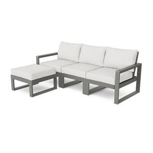 Edge Slate Grey and Natural Linen Modular Deep Seating Set with Ottoman, 4-Piece