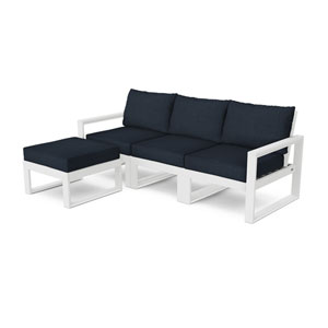 Edge White and Marine Indigo Modular Deep Seating Set with Ottoman, 4-Piece