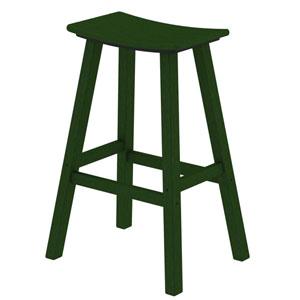 Green Traditional Bar Height Saddle Seat Barstool