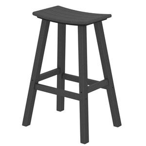 Slate Grey Traditional Bar Height Saddle Seat Barstool