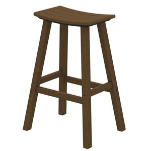 Teak Traditional Bar Height Saddle Seat Barstool