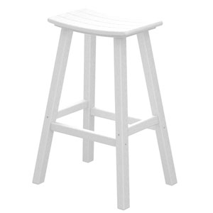 White Traditional Bar Height Saddle Seat Barstool