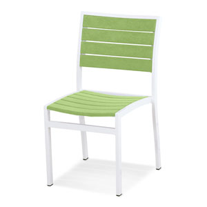 Euro Dining Side Chair in Textured White Aluminum Frame/Lime