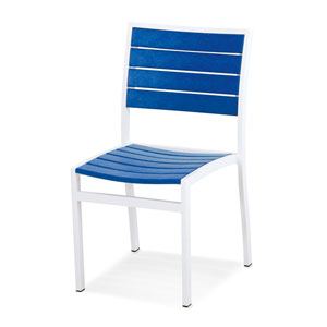 Euro Dining Side Chair in Textured White Aluminum Frame/Pacific Blue