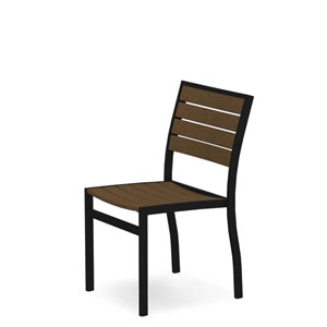 Euro Black and Teak Side Chair