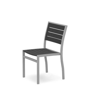 Euro Silver and Slate Grey Side Chair