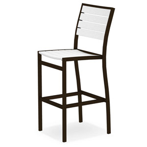 Euro Bar Side Chair in Textured Bronze Aluminum Frame/White