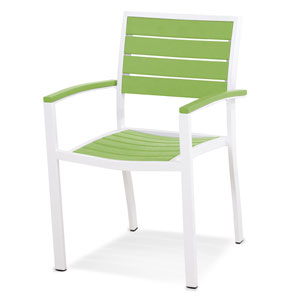 Euro Dining Arm Chair in Textured White Aluminum Frame/Lime