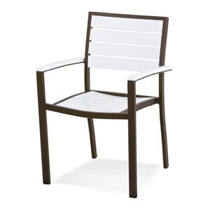 Euro Dining Arm Chair in Textured Bronze Aluminum Frame/White