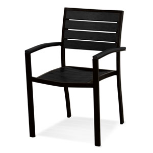 Euro Black and Black Arm Chair
