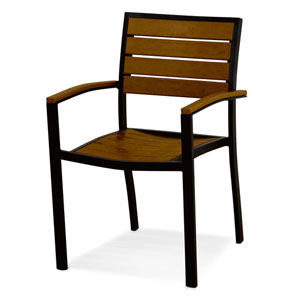 Euro Black and Teak Arm Chair