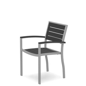 Euro Silver and Slate Grey Arm Chair