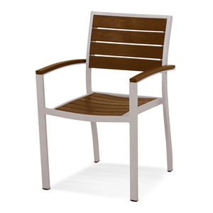 Euro Silver and Teak Arm Chair
