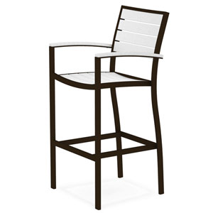 Euro Bar Arm Chair in Textured Bronze Aluminum Frame/White
