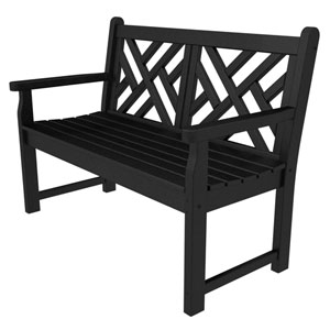 Chippendale Black 48 Inch Bench
