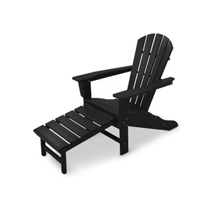 South Beach Black Ultimate Adirondack with Hideaway Ottoman