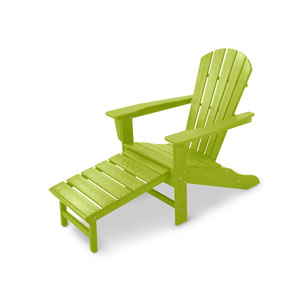 South Beach Lime Ultimate Adirondack with Hideaway Ottoman