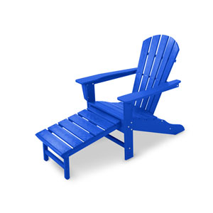 South Beach Pacific Blue Ultimate Adirondack with Hideaway Ottoman
